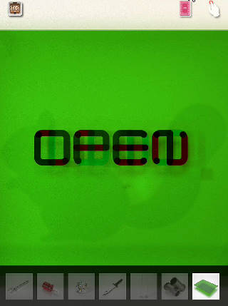 OPEN の文字 緑